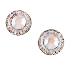 Silver Crystal Button Earrings