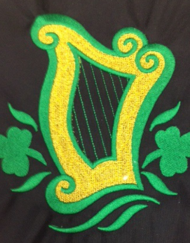 Celtic Harp with Shamrocks