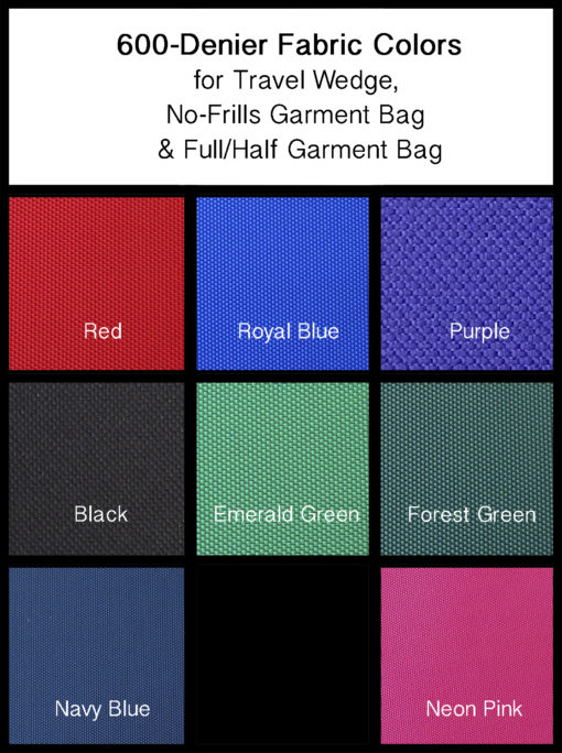 Fabric Colors for Garment Bags
